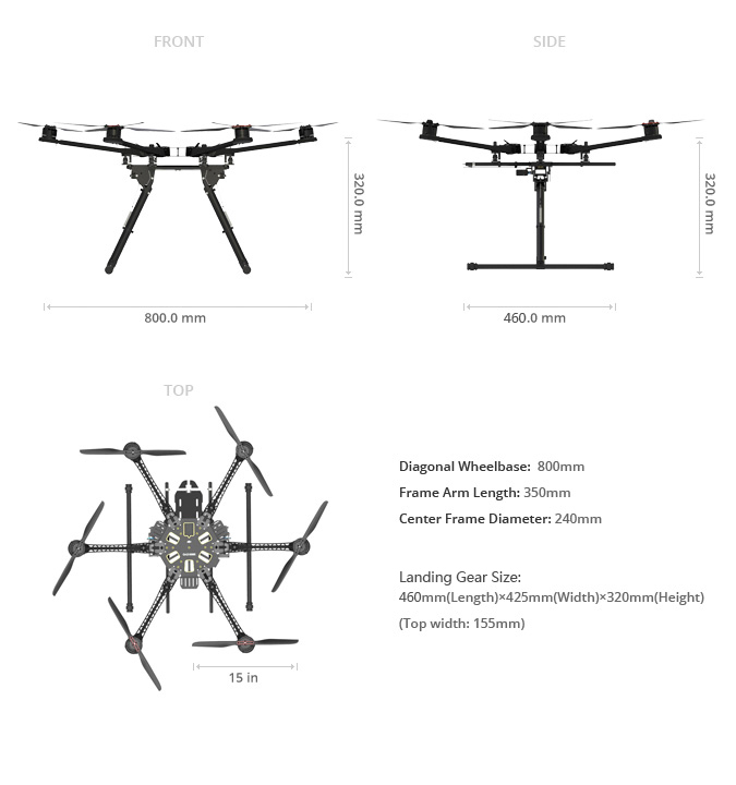 Spreading wings s800 evo specs dji for Dji phantom 2 motor specs